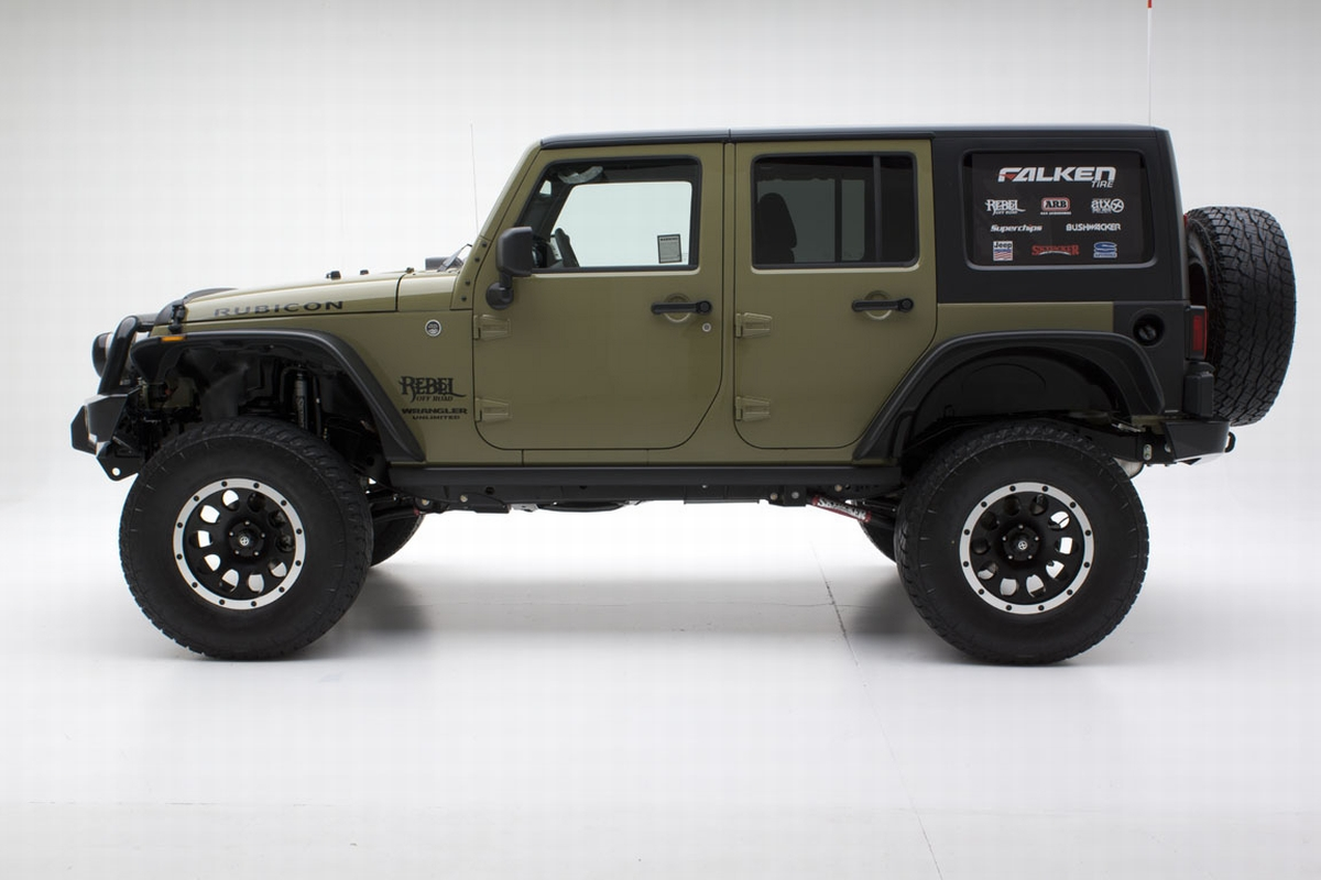the mean green jeep unlimited rubicon w atx wheels and off road tires. Black Bedroom Furniture Sets. Home Design Ideas