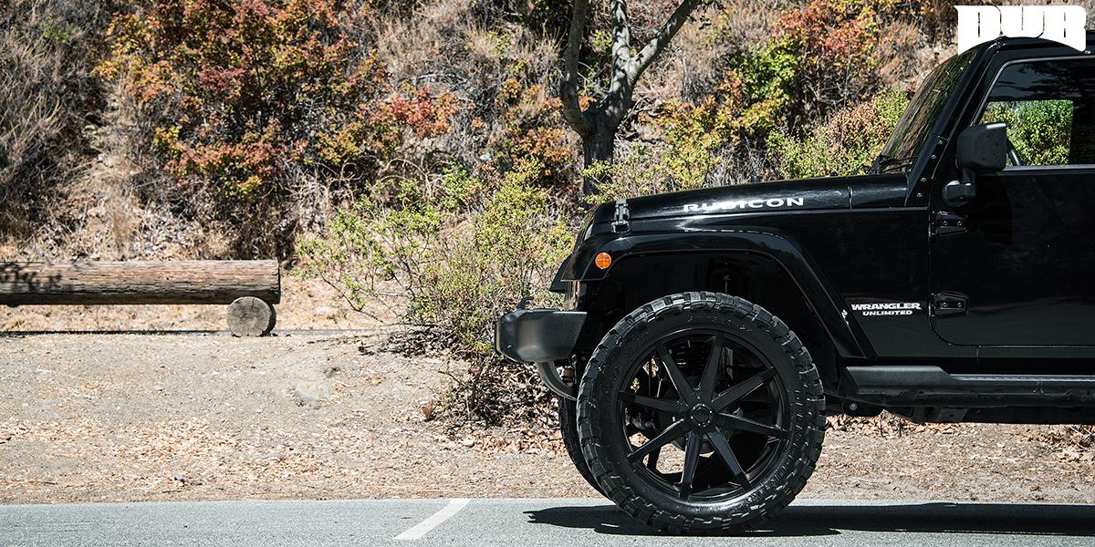 Black On Black With These New Dub Rims On A Jeep Wrangler Wheelhero