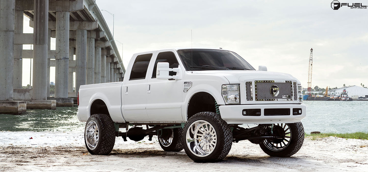 White Hot Is This Lifted Ford F250 With Fuel Wheels