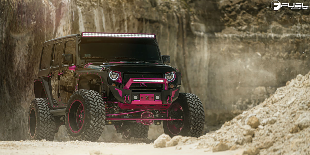 This Jeep Wrangler With Pink Fuel Wheels Is Manly