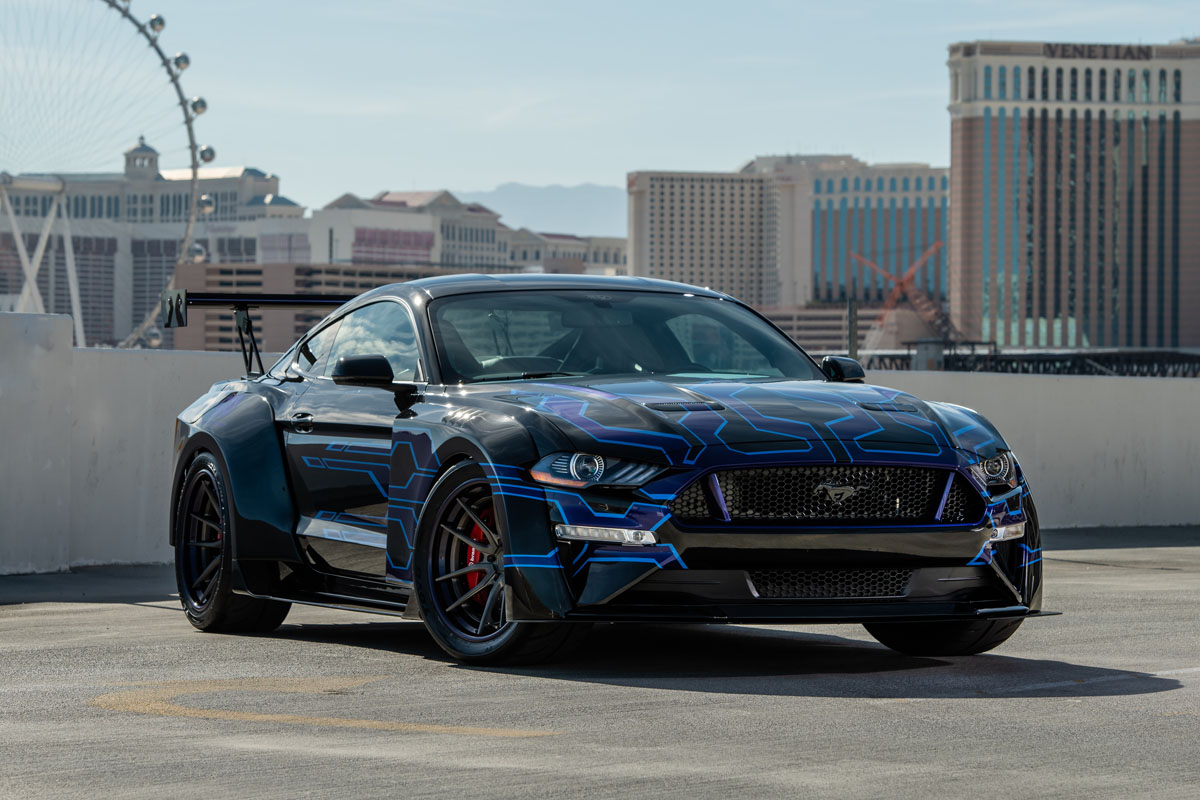 Rip some tires and rims with the gas widebody mustang