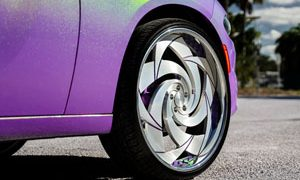 Spin Chrome Wheels w/ Mopar Dodge Challenger Drag Pak