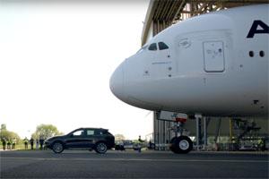 Porsche Cayenne S Diesel towing Airbus A38